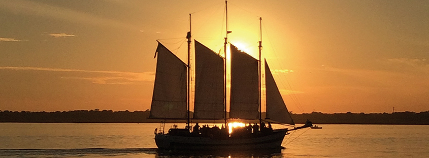 Enjoy a sailing trip on Charleston Harbor aboard the Schooner Pride. Image courtesy of Charleston Harbor Tours. All Rights Reserved.