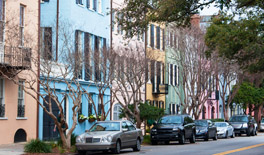 A shot of Rainbow Row in Charleston, SC and a highlight of various Charleston tours.