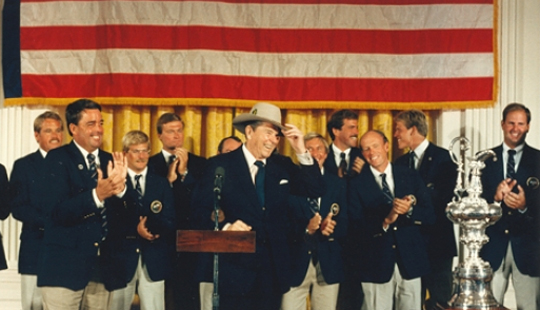 Jay Brown and Dennis Conner at the White House, America's Cup 1987