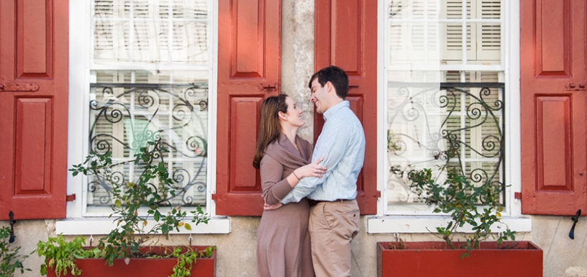 A newly engaged couple is photographed in downtown Charleston.