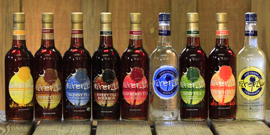 A selection of Firefly flavors awaits at the Firefly Distillery tasting room