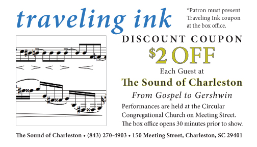 Sound of Charleston coupon good for musical performances at the Circular Congregation.