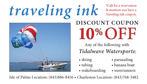 Receive a discount on parasailing, waverunner tours, banana boat rides, wake boarding, and tubing on Isle of Palms.