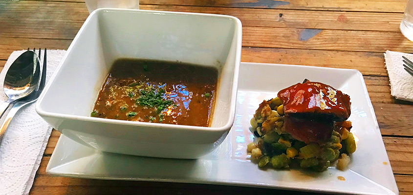 R Kitchen Ribeye and Lentil Soup. © 2017 Tonya Mulqueen.