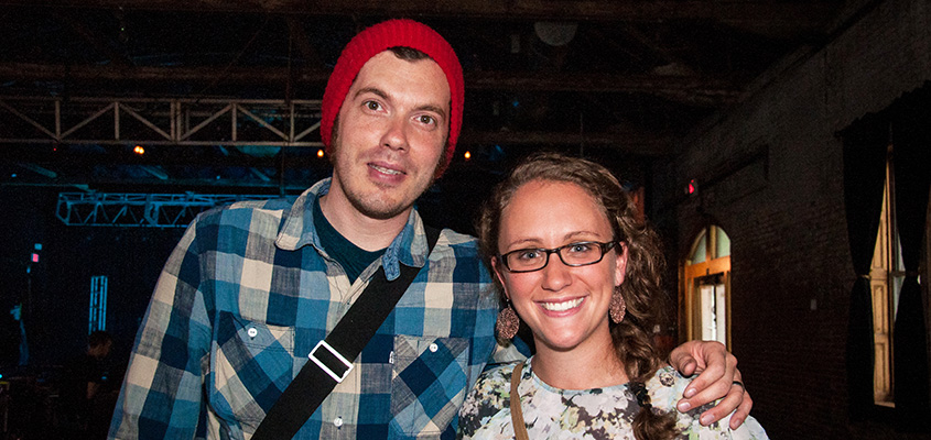 Josh Garrels and Katelyn Gochnauer, meeting and greeting. © 2014 Audra L. Gibson. All Rights Reserved.
