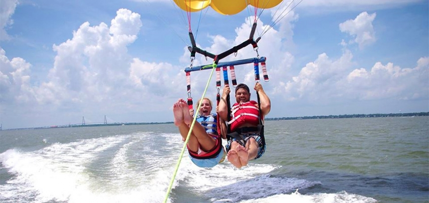 Parasailing With The Ravenel Bridge In Background